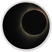 2017 Eclipse Red Prominence Round Beach Towel