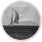 2017 Heineken Regatta Sailing Past Saba Saint Martin Sint Maarten Red Sail Black And White Round Beach Towel