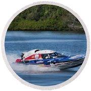 2017 Taree Race Boats 01 Round Beach Towel