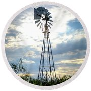 2017_08_midland Tx_windmill 2 Round Beach Towel