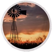 2017_09_midland Tx_windmill 7 Round Beach Towel