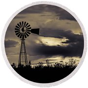 2017_09_midland Tx_windmill 8 Round Beach Towel