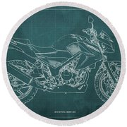 2018 Honda Cb300f Abs Blueprint Green Background Round Beach Towel