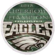 2018 Superbowl Eagles Barn Wall Round Beach Towel