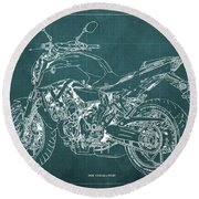 2018 Yamaha Mt07 Blueprint Green Background Fathers Day Gift Round Beach Towel