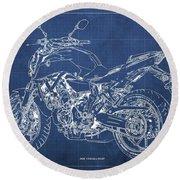 2018 Yamaha Mt07,blueprint,blue Background,fathers Day Gift, 2018 Round Beach Towel