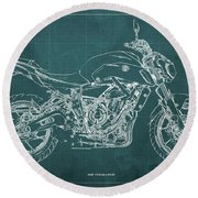 2018 Yamaha Mt07,blueprint,green Background,fathers Day Gift,2018 Round Beach Towel