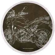 2018 Yamaha Tracer 900gt Blueprint Brown Background Two Wheels Move The Soul Round Beach Towel