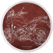 2018 Yamaha Tracer 900gt Blueprint Red Background Gift For Dad Round Beach Towel