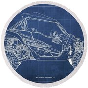 2018 Yamaha Wolverine X4 Blueprint Blue Background Gift For Dad Round Beach Towel