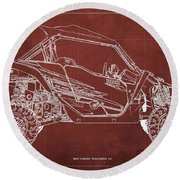 2018 Yamaha Wolverine X4 Blueprint Red Background Gift For Him Round Beach Towel