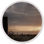 2018_02_pecos Tx_ Oil And Gas Artwork Round Beach Towel