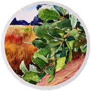#203 Blue Oak Leaves 2 Round Beach Towel