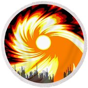 205 - Poster Climate Change  2 ... Burning Summer  Sun  Round Beach Towel