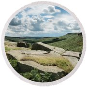 Beautiful Vibrant Landscape Image Of Burbage Edge And Rocks In S Round Beach Towel