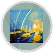 Docklands Double Rainbow Round Beach Towel
