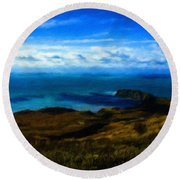 Landscape Graphic Round Beach Towel