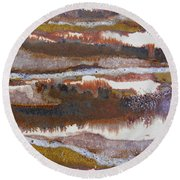 21. V2 Rustic Brown, Red And White Glaze Painting Round Beach Towel