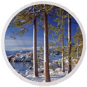 211257 Snow On Tree Sides Lake Tahoe Round Beach Towel