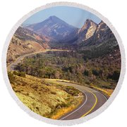 212308 Road To Sheep Creek Canyon Round Beach Towel