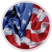American Flag 40 Round Beach Towel