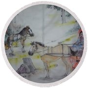 Here Come The Equines Album  Round Beach Towel