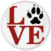 Love Claw Paw Sign Round Beach Towel
