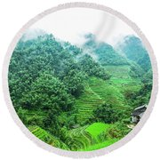 Mountain Scenery In The Mist Round Beach Towel