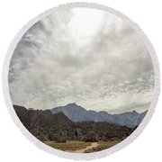 Rocks, Mountains And Sky At Alabama Hills, The Mobius Arch Loop  Round Beach Towel