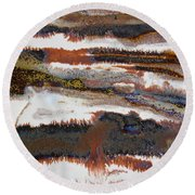 22. V2 Rustic Brown, Red And White Glaze Painting Round Beach Towel