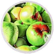 #227 Green Apples Round Beach Towel
