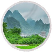 Karst Mountains Rural Scenery Round Beach Towel