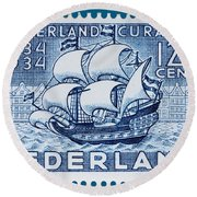 Old Dutch Postage Stamp Round Beach Towel
