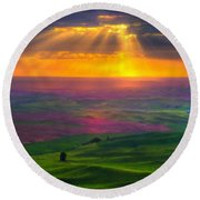 Landscape Painted Round Beach Towel