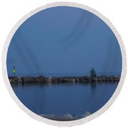 Racine Coastal Seascape - Michigan Lake In Wisconsin By Adam Asar Round Beach Towel