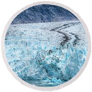 Sawyer Glacier At Tracy Arm Fjord In Alaska Panhandle Round Beach Towel