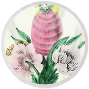 Vintage Botanical Illustration Round Beach Towel