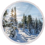 Amazing Landscape With Frozen Snow-covered Trees In Winter Morning  Round Beach Towel