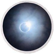 #25 August 2017 Solar Eclipse Round Beach Towel