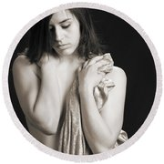 Claudia Nude Fine Art Print In Sensual Sexy Black And White Or S Round Beach Towel
