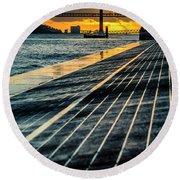 25 De Abril Bridge In Lisbon. Round Beach Towel