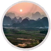 Karst Mountains Scenery In Sunset Round Beach Towel
