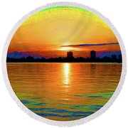 25- Psychedelic Sunrise Round Beach Towel
