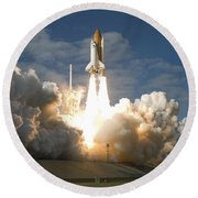 Space Shuttle Atlantis Lifts Round Beach Towel by Stocktrek Images