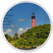 255- Becca Lee - Jupiter Lighthouse Round Beach Towel