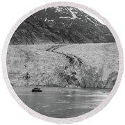 Sawyer Glacier At Tracy Arm Fjord In Alaska Panhandle Round Beach Towel