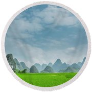 The Beautiful Karst Rural Scenery Round Beach Towel