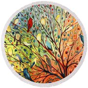 27 Birds Round Beach Towel