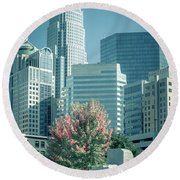 Charlotte North Carolina Cityscape During Autumn Season Round Beach Towel