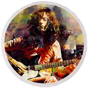 Jimmy Page. Led Zeppelin. Round Beach Towel